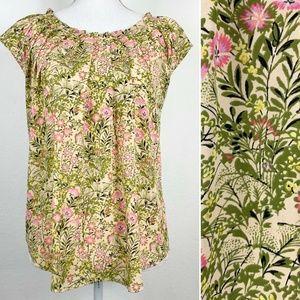 Lauren Conrad Womens M Blouse Floral Short Sleeve